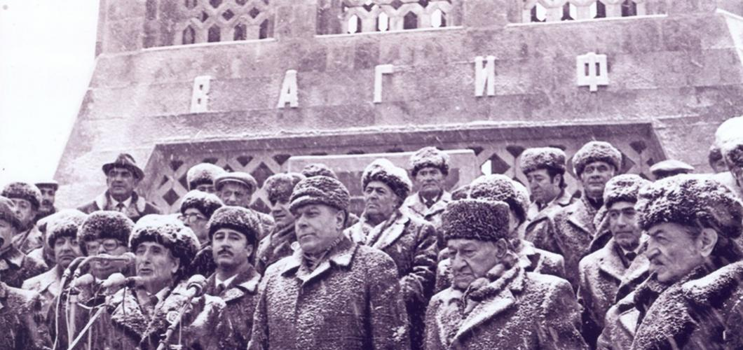Heydar Aliyev in Shusha. Official opening ceremony at Molla Panah Vagif's 	tomb. 1982