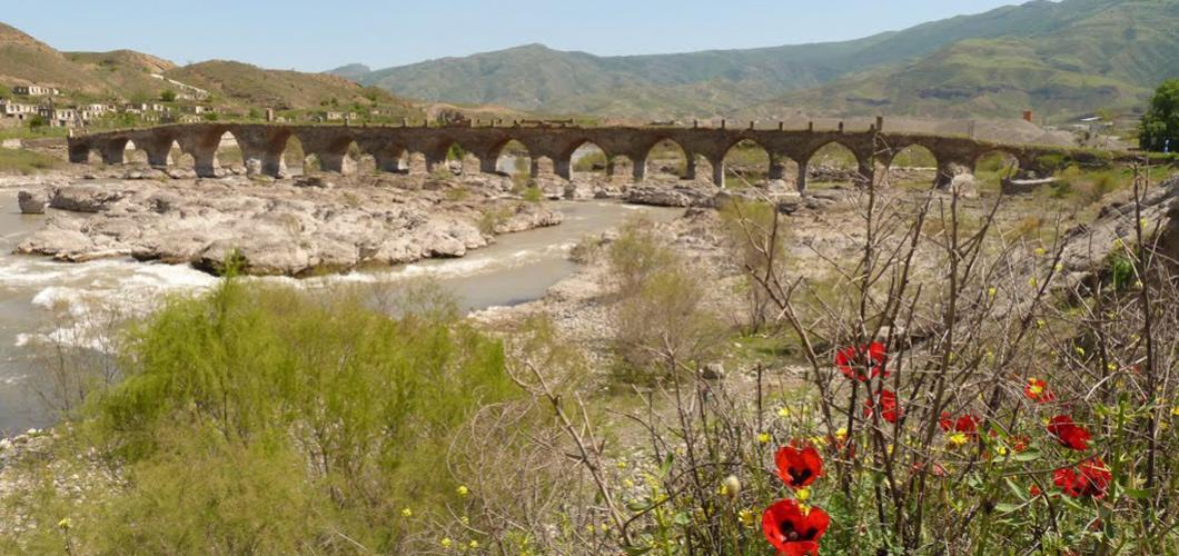 15-span Khudaferin Bridge, 11th-12th centuries. Jabrayil, Azerbaijan