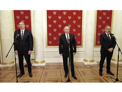 Russian president, Azerbaijani president, and Armenian PM make press statements