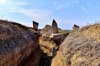 Armenian military trench found digged between graves in Azerbaijan's Aghdam