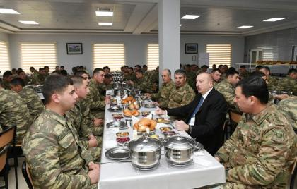 President Ilham Aliyev viewed newly-built military unit in Beylagan district