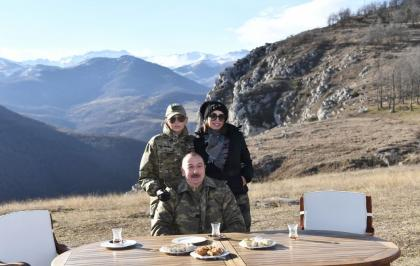 We are having tea in pear-shaped glasses, baklava on Jidir Duzu. Let our friends rejoice, enemies get blind! - President Aliyev