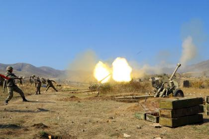 Azerbaijan Army inflicting strikes at firing points of Armenian armed forces